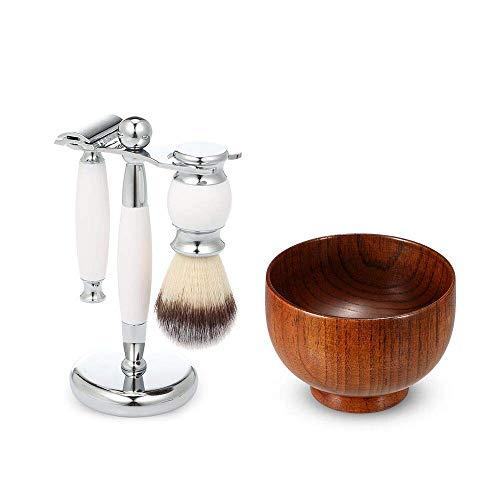 4-teiliges Rasierset, MODEOR Shaving Tool Kit mit Rasiermesser aus Zinklegierung, Rasierpinsel, weißem Ständer und Holzschale als Geschenk für Männer (Typ 5) - Friseur-starter-kit
