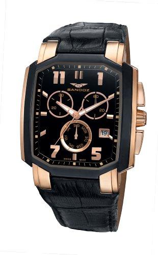 Sandoz - 81291-95 - Montre Homme - Quartz - Chronographe - Bracelet Cuir Noir