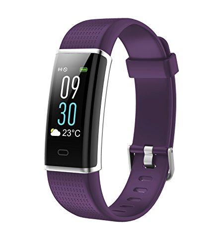 Juboury Fitness Trackers Pulsmesser Farbdisplay Fitness Armband Watch Smart Uhr Activity Tracker Wasserdicht Schrittzähler mit Sleep Tracking für Android und IOS Smartphones(Lila)