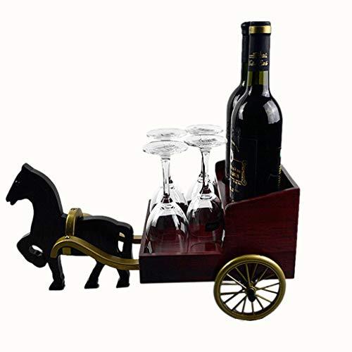 Pferdewagen Holz Weinregal Weinflaschenhalter, Wohnzimmer Weinschrank Ausstellungsstand Stemware...