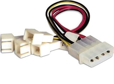 Câble Y ventilateur PC Akasa [4x ventilateur PC mâle 3 pôles - 1x alim IDE mâle 4 pôles] 0.15 m par AKASA