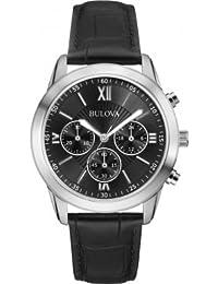 Bulova 96A173 Dapper Gents Dress Watch, Classic Leather Strap, Sleek Silver Details, Chronograph Capabilities, Japanese Quartz Power.