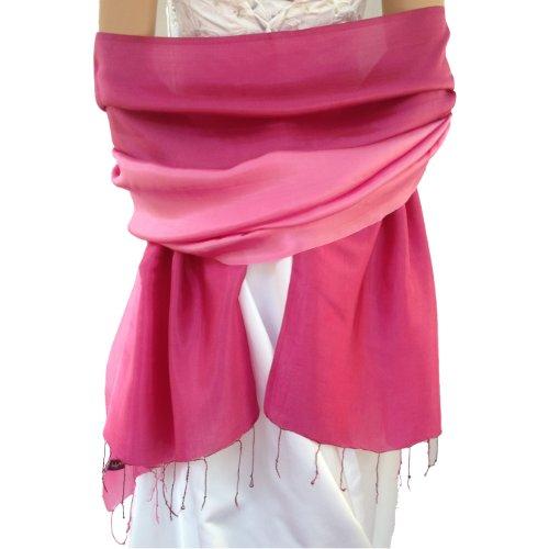 LadyMYP© Außergewöhnliches Stola Schal mit kontinuierlichem Farbverlauf mit 40% Seide, (Rosa) (Bolero Seide)