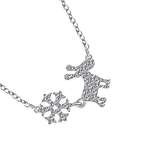 Lorsoul Frauen-Mädchen-silbrige Halskette Snowflake Deer Neck Anhänger Kupfer Tierkette Weihnachten Schmuck