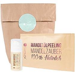 Deluxe Wellness Pflegeset bestehend aus 100% natürlichem 3in1 Creme Öl Körper Peeling mit Mandelöl (250g) & Moor Detox Gesichtsmaske (100ml), Beauty Geschenkset