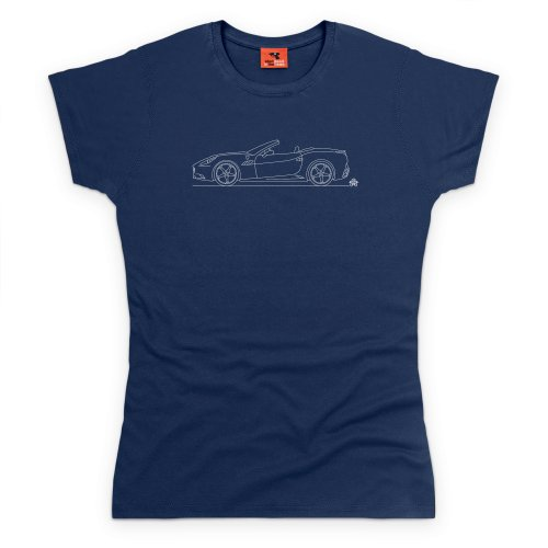 PistonHeads Black Horse Cali Super Car T-Shirt, Damen Dunkelblau
