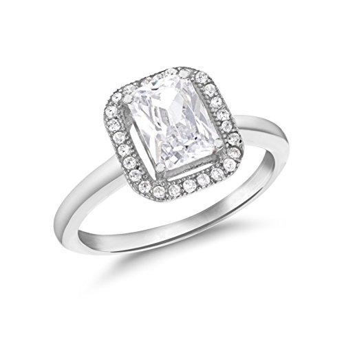 Tuscany Silver Ring Rhodiniert Sterling Silber Cluster Weiß Zirkonia - Größe P Preisvergleich