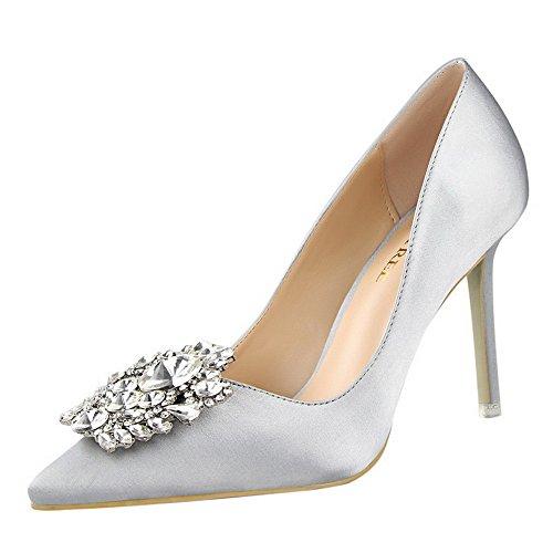 XNBZW Damen Spring Mode Wildleder Einzelne Schuhe Spitzen Strass Stiletto Spitzen Flächen Mund High Heel Stiletto Arbeitsschuhe (Silber,38 EU)
