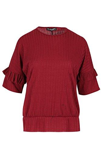 Be Jealous Frauen Bell Krause 3/4 Hülse Baggy übergroßes Peplum gerippt T-Shirt Top Wein