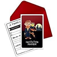 6 cartes d'invitation anniversaire et enveloppes inspirées de Harry Potter - Magic le magicien (en français)