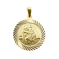 CJoL - 9ct Yellow Gold Plated 20mm Round Diamond Cut St Christopher Medal Pendant With 20