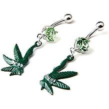 Anillo del vientre BODYA falsos olla pendientes largos con forma de hojas con hoja de marihuana Cannibus bar el ombligo verde de hierbajos Best Bud cuerpo de un amigo de joyería 14 G