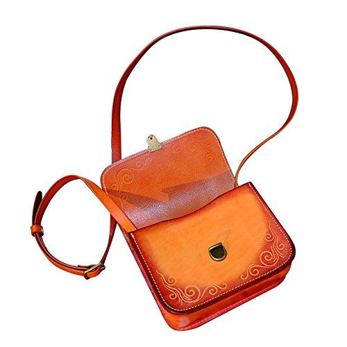 Mena UK Borsa grande tote e borsa a tracolla - pelle in abbronzatura vegetale - borsa in pelle scolpita originale ( Colore : Marrone chiaro , dimensioni : L=19CM(H=15.5CM) ) Marrone chiaro