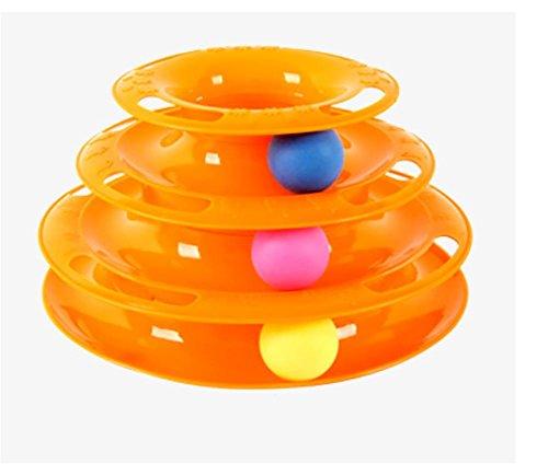 AnGe Drei Schichten Pet Toys Intelligenz Crazy Play Ball Tray Katze Spielzeug , yellow
