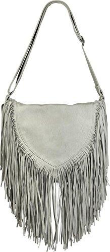 styleBREAKER Umhängetasche mit Fransen im Ethno Style, Schultertasche, Handtasche, Tasche, Damen 02012188, Farbe::Hellgrau -