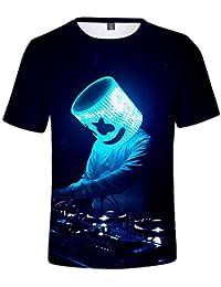 1e430196c76 YATCLS Thème De La Musique électroacoustique DJ Marshmello pour Les  Amateurs De Tee-Shirts. Top Ample à Manches Courtes