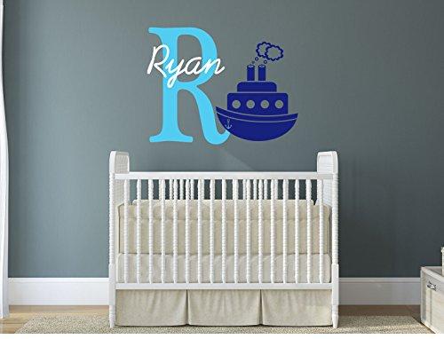 Personalizzabile con il proprio nome, iniziale E-Sail Boat.Kids da parete in vinile, decalcomania light blue/brilliant blue/ white