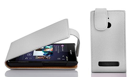 Cadorabo Hülle für Sony Xperia E1 - Hülle in MAGNESIUM WEIß – Handyhülle aus strukturiertem Kunstleder im Flip Design - Case Cover Schutzhülle Etui Tasche
