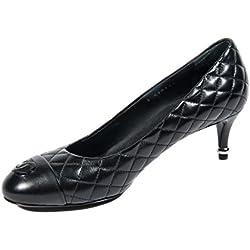 Chanel Woman - Zapatos de vestir de Piel para mujer negro negro, color negro, talla 41.5 EU