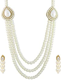 Zaveri Pearls Grand Moti Rani haar Necklace Set for Women (White) (ZPFK4137)