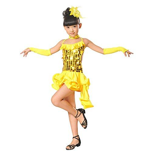 Lonshell Teenager Mädchen Tanzkleid 4-teiliges Set Tanz Kostüm mit Leggings Halskette Kopfschmuck 2-13 Jahre Kinder Performance Verschleiß für Lateinisches Salsa Tango (Cinderella Kostüm Für Teenager)