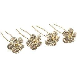 """SIX """"Blumen"""" 4er Set Damen goldene Haarnadeln mit Glitzer besetzten Blumen, Strass Steine, Dutt Frisur, Party, Hochzeit, Pins, 6 cm (488-080)"""