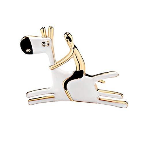 TENDYCOCO Frauen Tier Brosche Kleine Nette Pferd Brosche Legierung Breastpin Kleidung Ornament für Frauen Damen Braut Mädchen (Weiß) (Weiße Kragen Designer Kostüm)