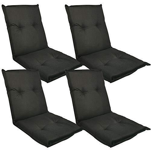 Diluma Niedriglehner Auflage Naxos für Gartenstühle 4er Set 98x49 cm Uni Schwarz - 6 cm Starke Premium Stuhlauflage mit Komfortschaumkern - Sitzauflage Made in EU