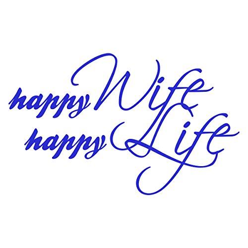 WANDKINGS Wandtattoo - happy Wife happy Life - 100 x 62 cm - Azurblau - Wähle aus 5 Größen & 35 Farben