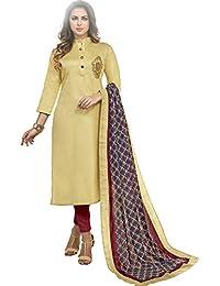 Vasu Saree Beige Heavy Jam Cotton With Designer Hand Work Long Stitched Suit