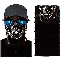 Shuzhen,Máscara de patrón de cráneo Multifuncional para Actividades de Ciclismo al Aire Libre(Color:Negro,Size:LEO-017)
