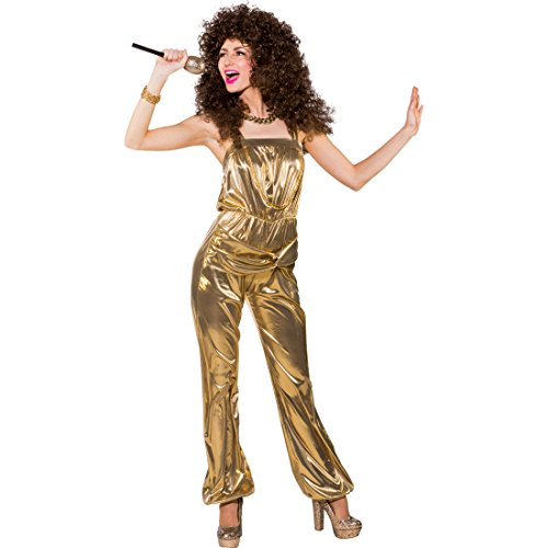 Gold Disco Fever Kostüm - NET TOYS Jumpsuit Gold Disco Overall