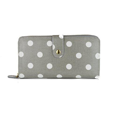 Cartera de hule Miss Lulu, con lunares, cartera plegable con cremallera, monedero Big Polka Dots Grey M
