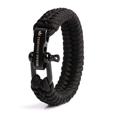 The Friendly Swede Paracord Survival Armband mit Micro-Cord - größenverstellbar (Schwarz Medium) - Medium Armband