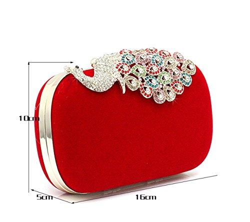 GSHGA Frauen Strass Peacock Tragbarer Umhängetasche Velvet Partei Clutch Abendtaschen Handtasche,Rosered Red