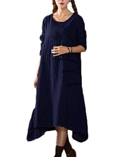 ZANZEA Vintage Automne Longue Tunique Cocktaill Femme Maxi Robe Lâche Casual Soiree Bal Dress Linge Bleu foncé