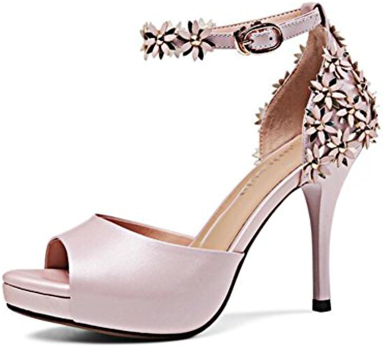 YXINY Zapatos de tacón Sandalias PU Mujeres Tacones 9.5CM Plataforma Impermeable Blanco Rosa (Color : Pink, Tamaño... -