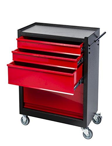 Kreher Werkstattwagen, Werkzeugschrank auf Rollen aus Metall. Mit 3 Schubladen und Freifach. Lackiert in Anthrazit und Rot. Maß BxTxH 62 x 33 x 76 cm.