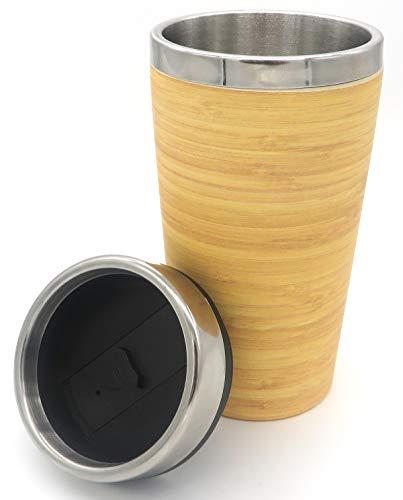Vaso Termo Acero Inoxidable y Bambú, 400 ML. Taza térmica de Viaje para Café y Té, con Tapa para Pajita (Madera)