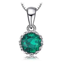 Idea Regalo - JewelryPalace Donna Gioiello 0.77ct Nano Russo Verde Artificiale Smeraldo Ciondolo Collana con Pendente Avvolgente 925 Argento Sterling 45cm
