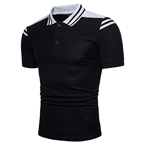 ASHOP Herren-Buttons Design Halber Cardigans Short Sleeve Slim Fit Casual T-Shirt (XXL, Schwarz)