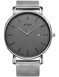 BUREI Men's Watches Ultra Thin Black Minimalist Quartz with Date Display and Milanese Bracelet