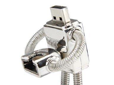 Asone Edelstahl Roboter High Speed USB 2.0 High Speed Speicherstick Flash unterstützt Windows und Mac OS Shock Proof Gehäuse aus Metall mit Schlüsselanhänger und Gürtelschlaufe tolles Geschenk silber 8 GB