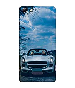 PrintVisa Designer Back Case Cover for Micromax Canvas Selfie 3 Q348 (Classy White Car In Blue Background)