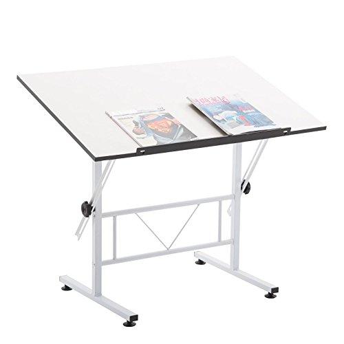 CARO-Möbel Zeichentisch Morelia weiß mit Verstellbarer Tischplatte Schreibtisch Architektentisch neigbar