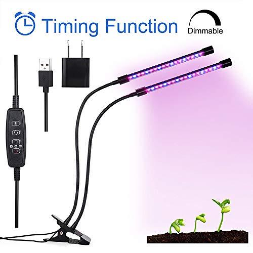 BF-DCGUN Doppelkopf-Clip-Pflanzenlampe für Zimmerpflanzen mit 40 LED-Pflanzenlicht 3 Arbeitsmodi 5 dimmbare Ebenen für den Anbau von Gewächshäusern