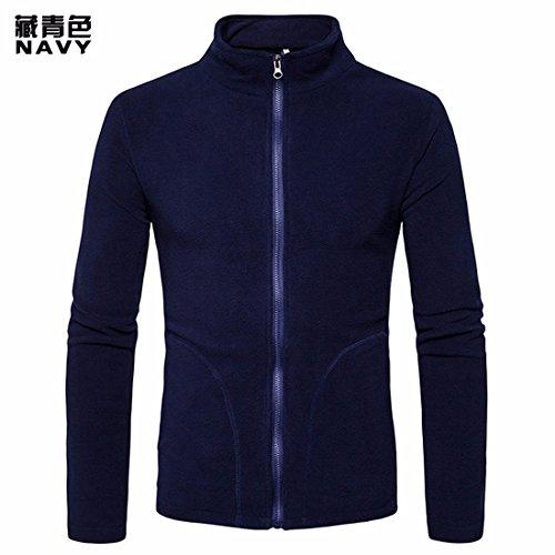 RF-Vêtements pour hommes Pendant Le Printemps et l'automne Men's Simple et Pure Couleur Ambiance détendue et informelle Coral Fleece Jacket Zip Hoodies