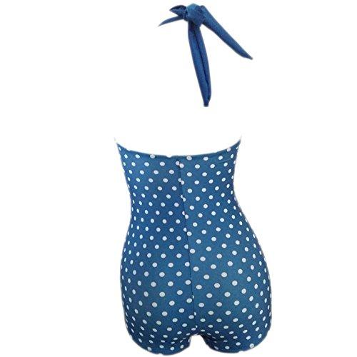 Missyhot Damen Retro Bademode 50s 60s Polka Dots Einteiler Rockablily Schwimmenanzug mit Punkten Monokini Bikini Neckholder Badeanzug Hohe Taille Blau