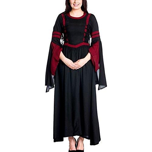 Elbenwald Mittelalter Damen Kleid mit Kapuze Schwarz Rot - - Kapuzen-renaissance-kleid