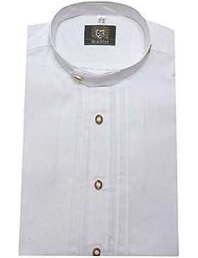 Trachten Hemd Stehkragen weiß Biesen im Vorderteil OS-0005 bequeme weite Passform Größen M bis 6XL